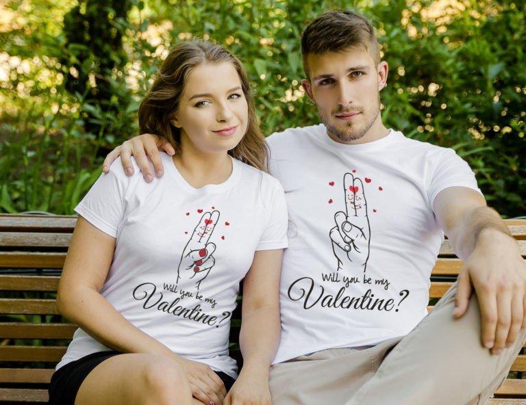 White short sleeve couple graphic t shirts Valentine