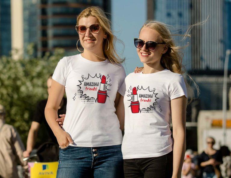 White short sleeve BFF graphic t shirts Amazing friends lipstick