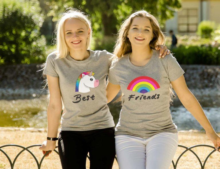 Grey short sleeve BFF graphic t shirts Unicorn