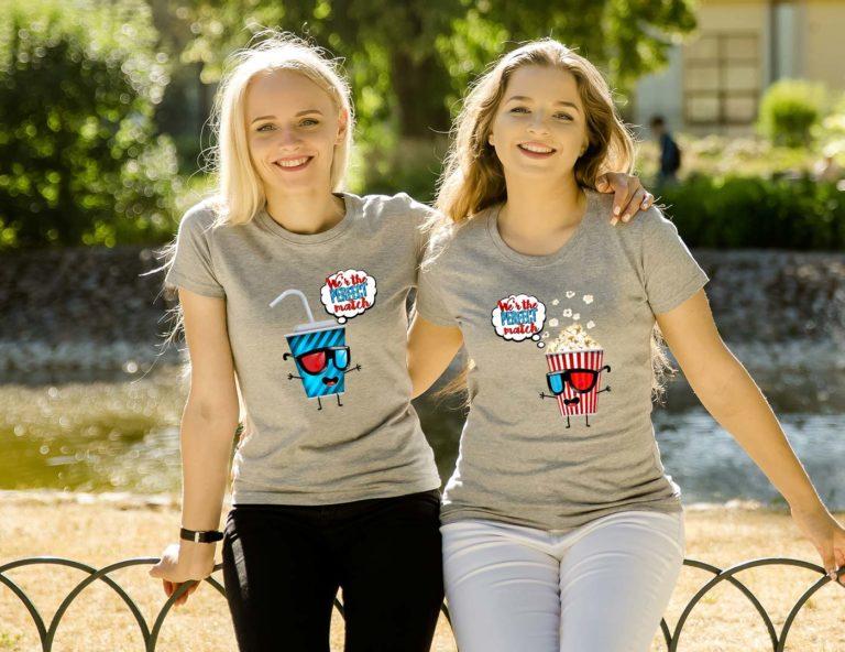 Grey short sleeve BFF graphic t shirts Perfect match soda popcorn