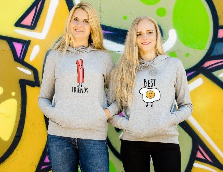 Grey hooded women sweatshirts Best friends bacon and egg