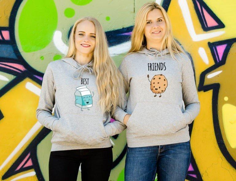 Grey hooded women sweatshirts Milk cookie