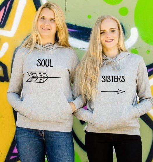 Grey hooded women sweatshirts Soul sister