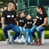 Black short sleeve family graphic t shirts Ctrl C Ctrl V