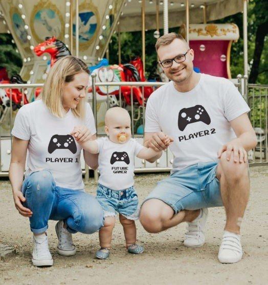 FWhite short sleeve family graphic t shirts Future gamer