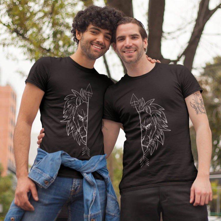 Black short sleeve LGBT graphic t shirts LGBT lion