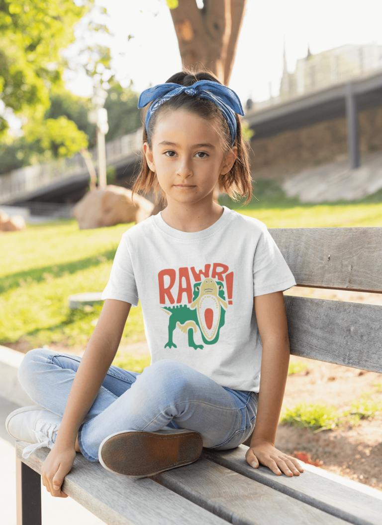 Kids graphic tees Rawr dinosaur