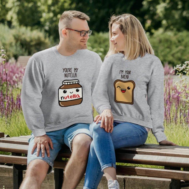 Grey long sleeve couple sweatshirt Nuttela