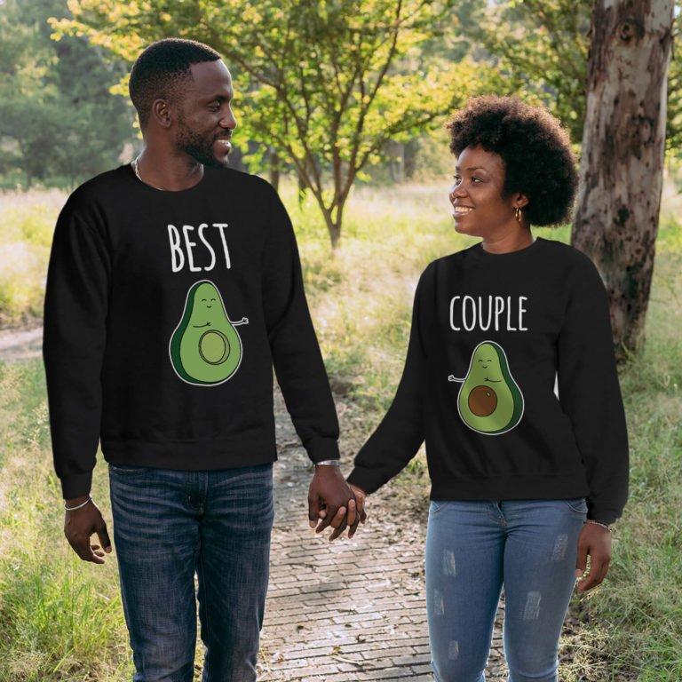 Black long sleeve couple sweatshirt Best avocado couple