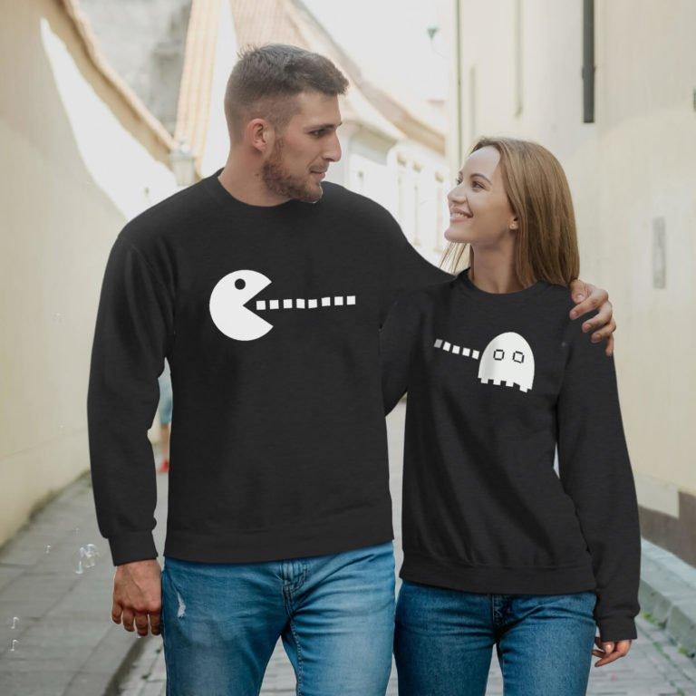 Black long sleeve couple sweatshirts pacman