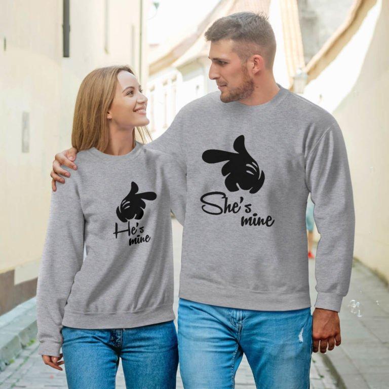 Grey long sleeve couple sweatshirts she is mine