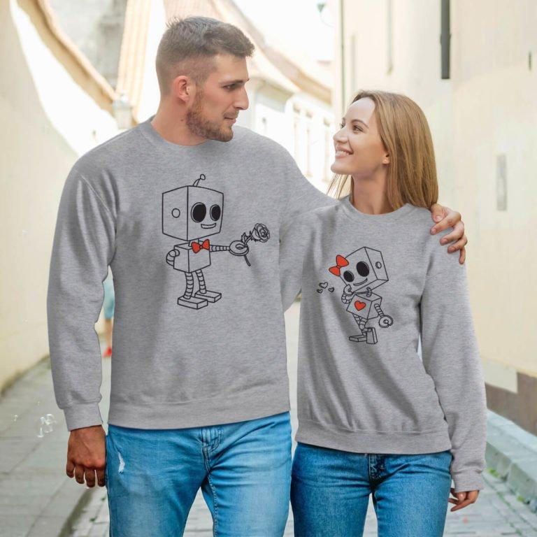 Grey long sleeve couple sweatshirts robots love