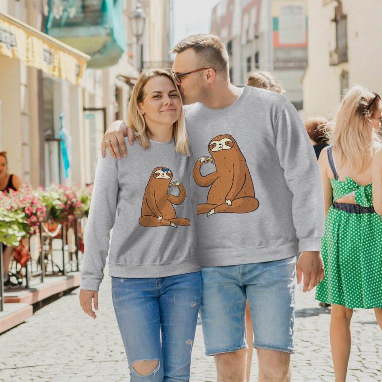 Grey long sleeve couple sweatshirts Sloth