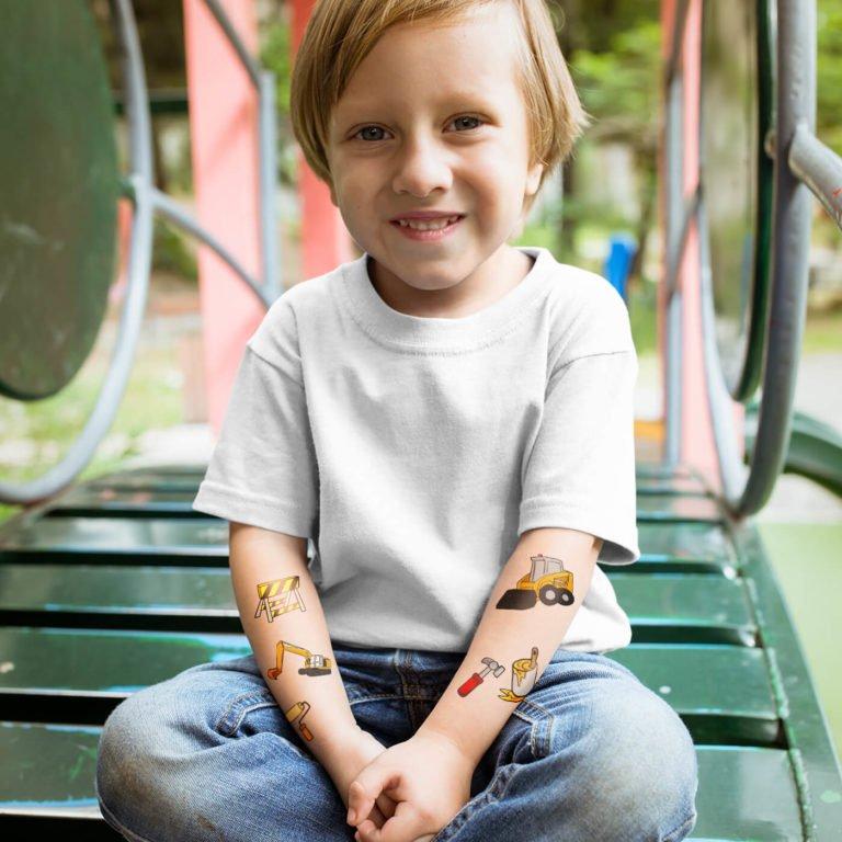 Kids temporary tattoo Construction