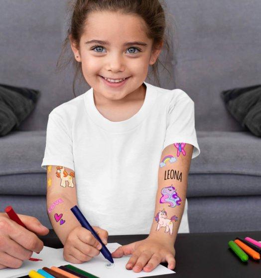 Kids temporary tattoo Unicorns