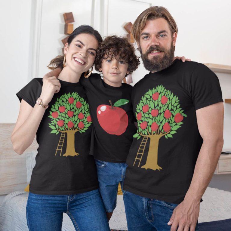 Black short sleeve family graphic t shirts Apple family
