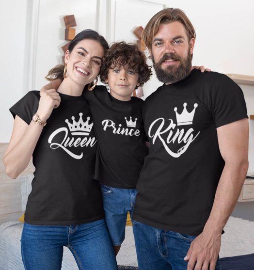 Black short sleeve family graphic t shirts Royal family