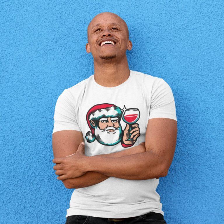 White short sleeve men t shirts for ChristmasCheers Santa