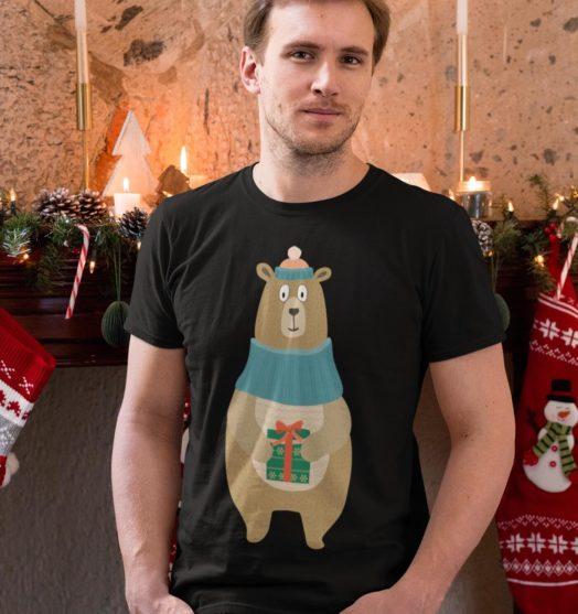 Black short sleeve men t shirts for Christmas Christmas bear