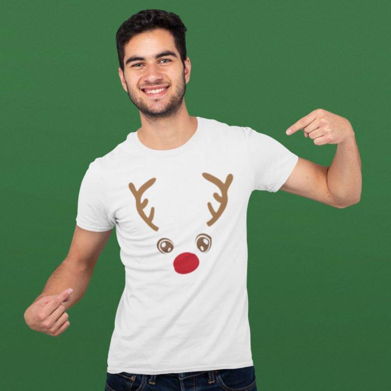 White short sleeve men t shirts for Christmas Deer face