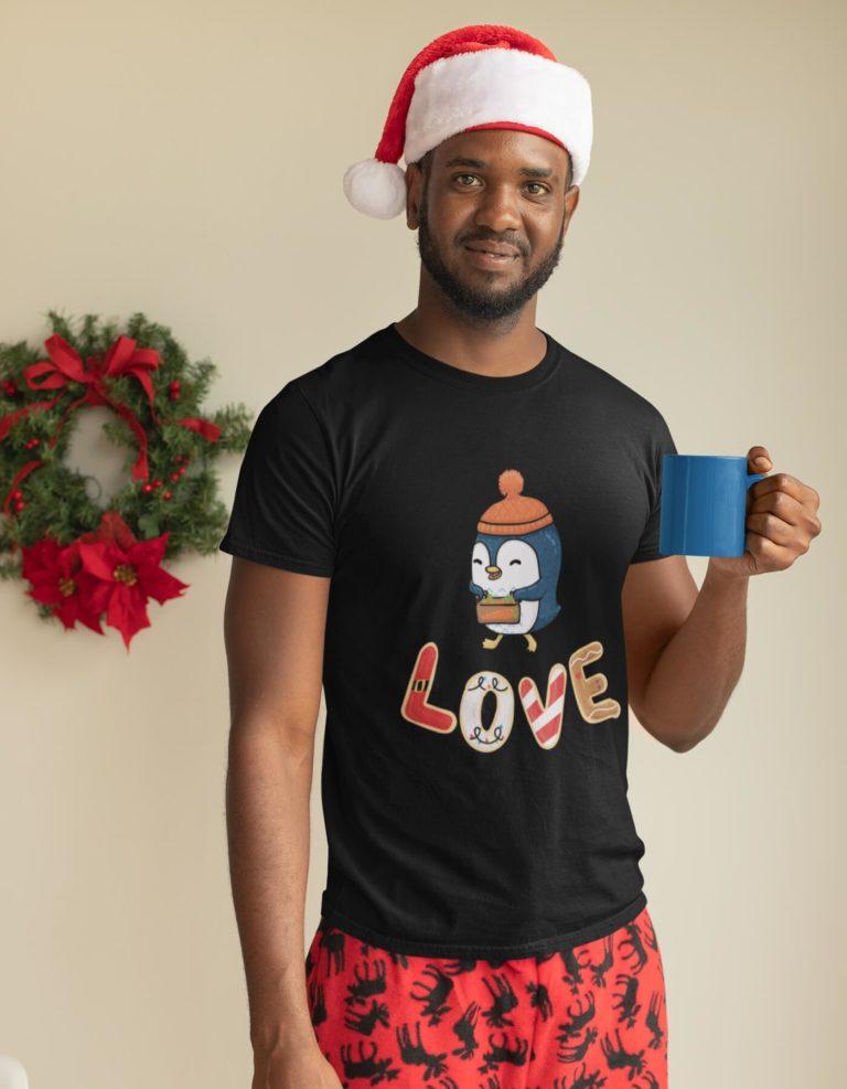 Black short sleeve men t shirts for Christmas Love Christmas
