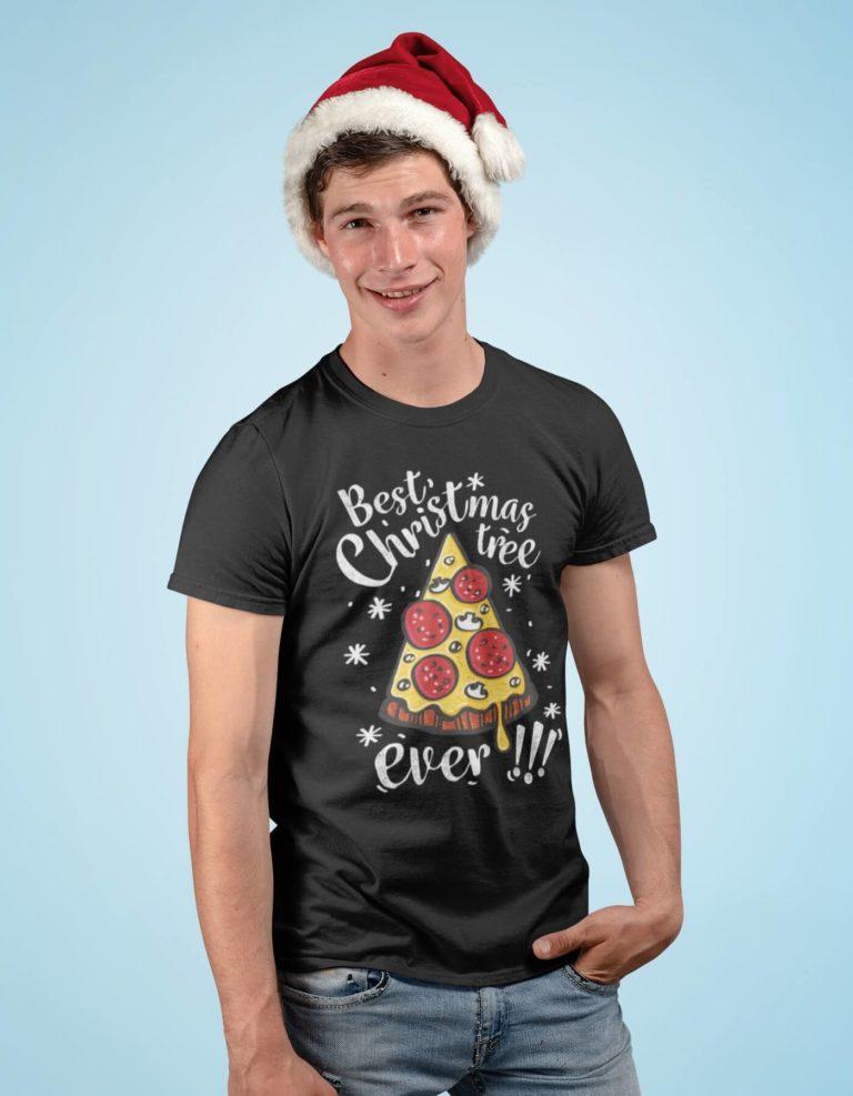Black short sleeve men t shirts for Christmas Christmas tree
