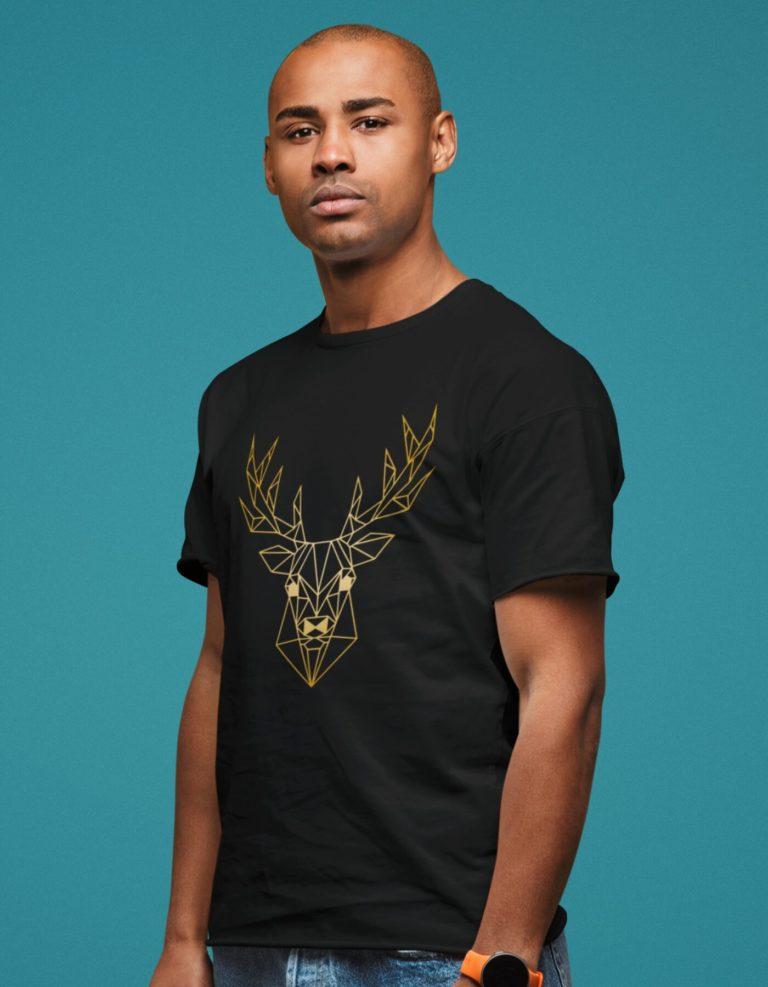 Black short sleeve men t shirts for Christmas Golden Deer