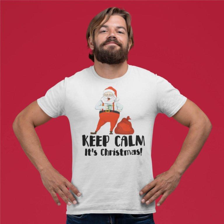 White short sleeve men t shirts for Christmas Keep Calm