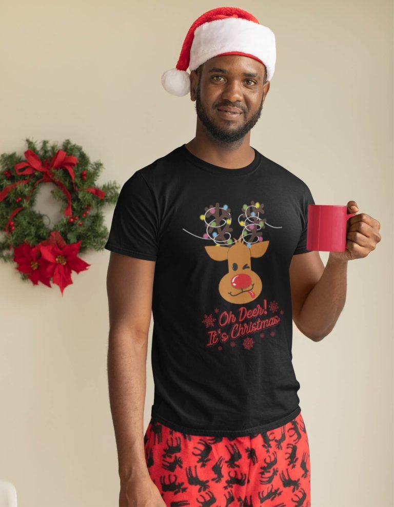 Black short sleeve men t shirts for Christmas Oh Deer