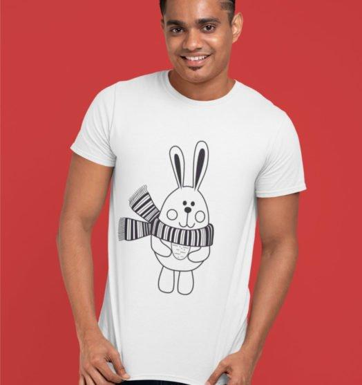 White short sleeve men t shirts for Christmas Rabbit