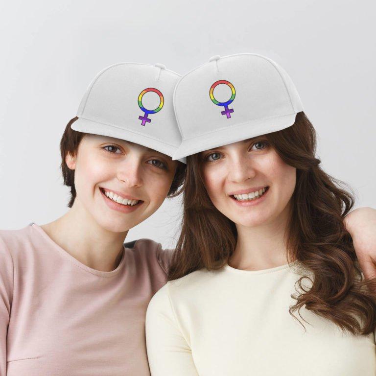 Same sex caps Girl sign