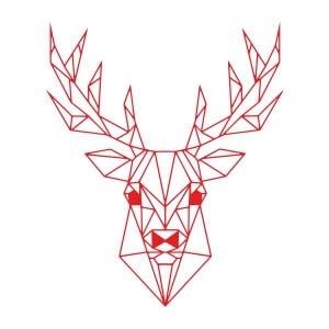 Men graphic tees Red Geometry deer