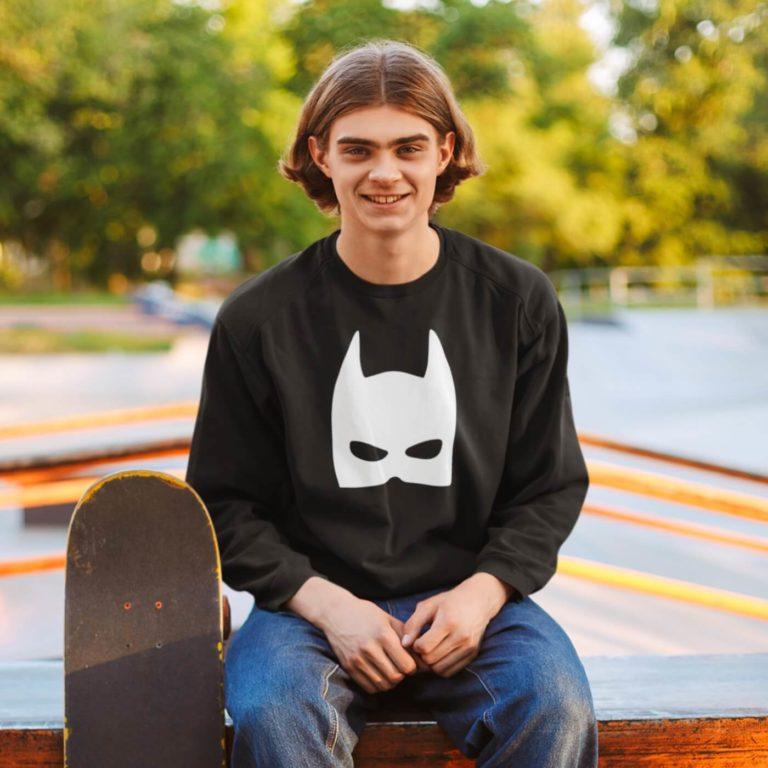 Black long sleeve men sweatshirts Batman