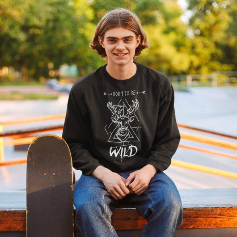 Black long sleeve men sweatshirts Born to be
