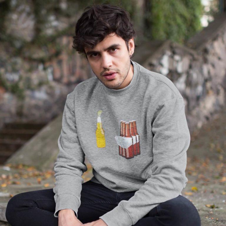 Grey long sleeve men sweatshirts Corona