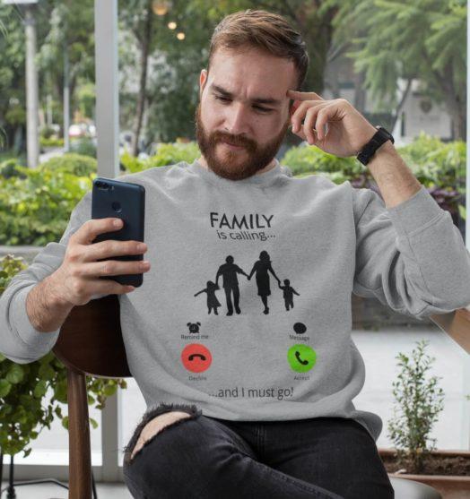 Grey long sleeve men sweatshirts Family calling