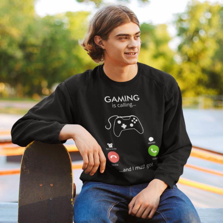 Black long sleeve men sweatshirts Gaming calling
