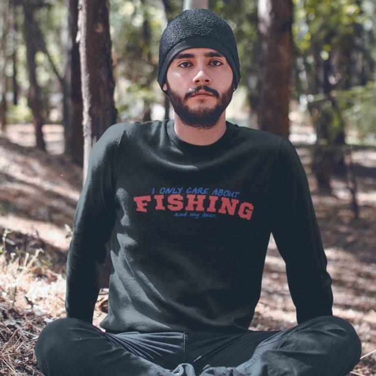 Black long sleeve men sweatshirts Only care fishing