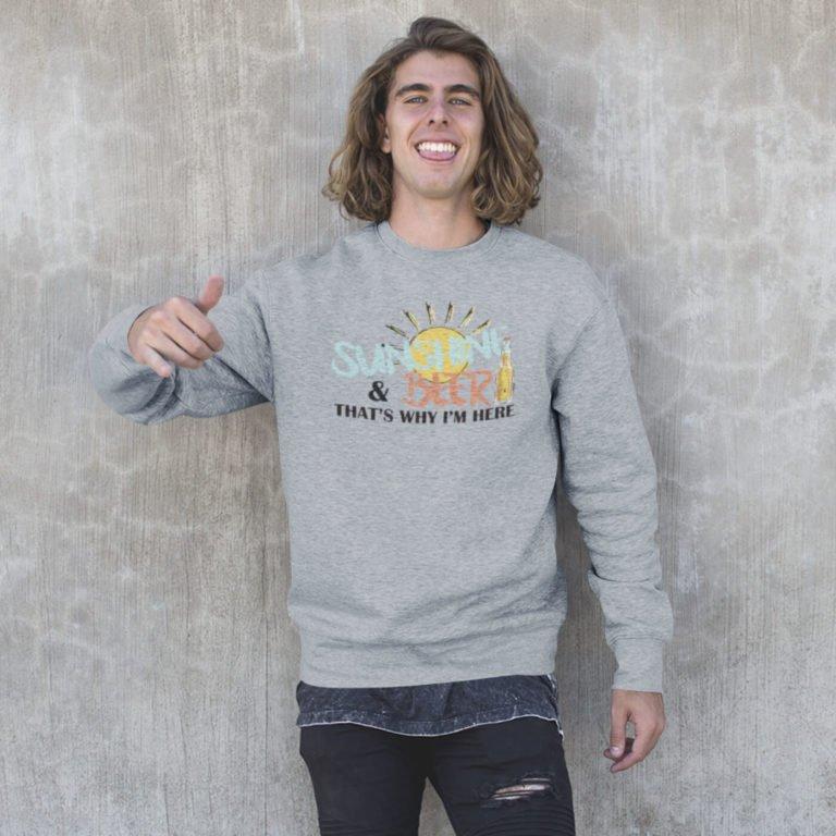 Grey long sleeve men sweatshirts Sunshine and beer