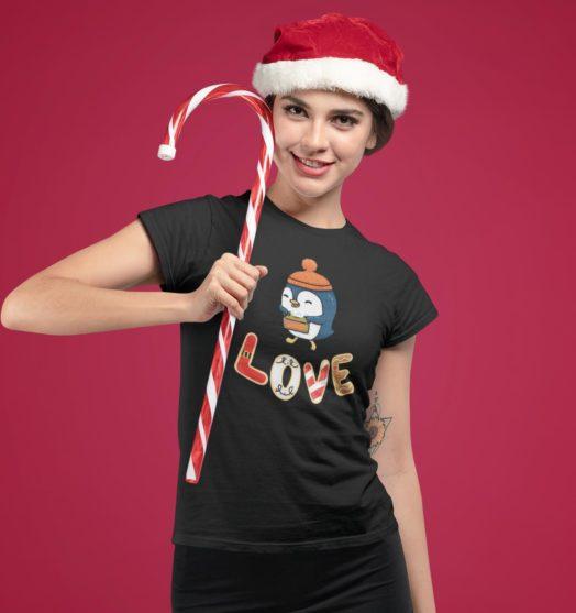Short sleeve graphic women t shirt for christmas Penguin