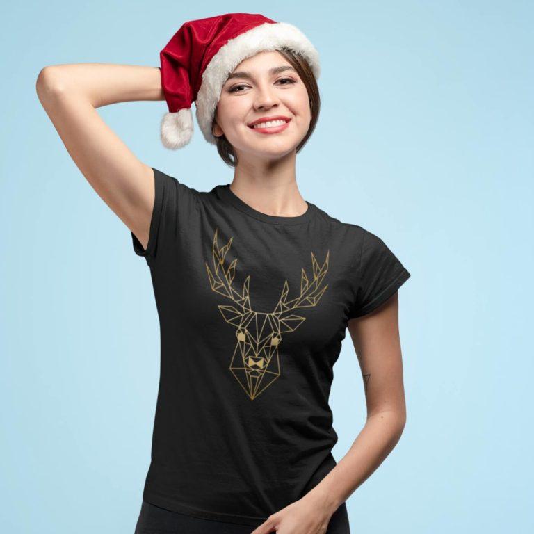 Short sleeve graphic women t shirt for christmas Deer in gold