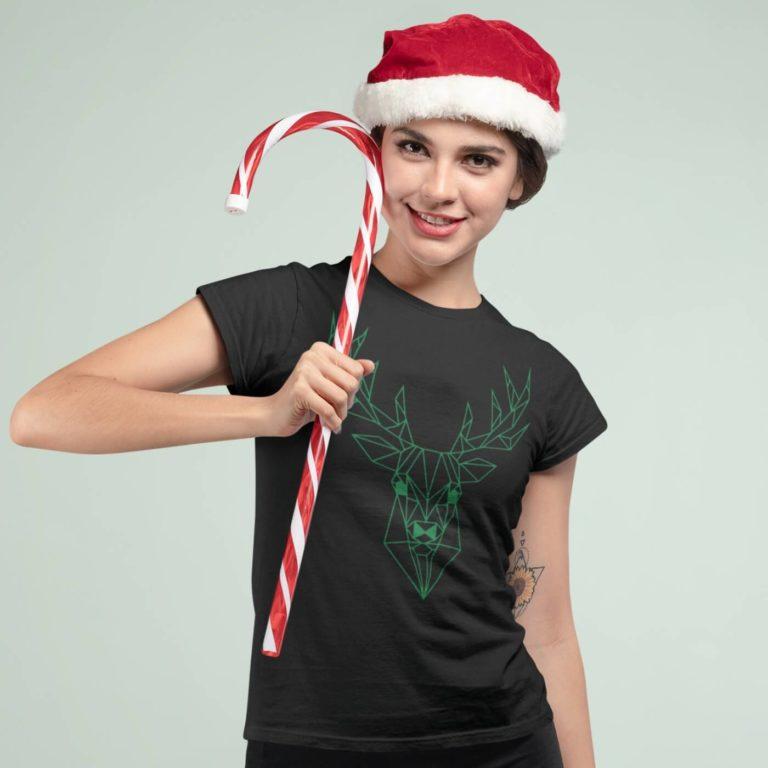 Short sleeve graphic women t shirt for christmas Green deer