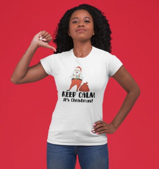 Short sleeve graphic women t shirt for christmas Calm Santa