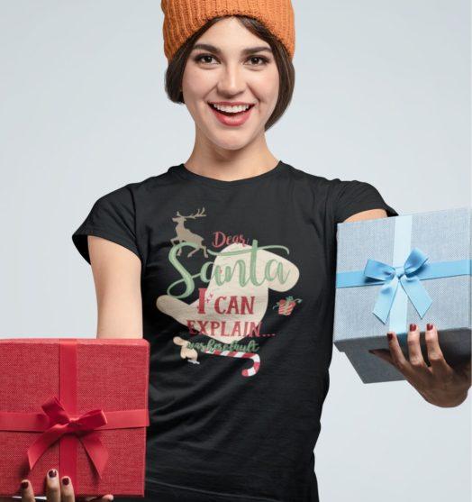Short sleeve graphic women t shirt for christmas Dear Santa