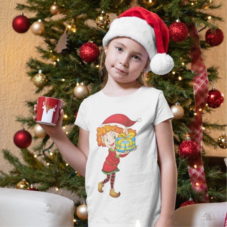 Short sleeve kids Christmas t shirts Elf Girl