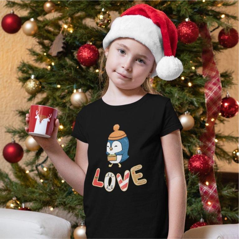 Short sleeve black Christmas t shirts Christmas penguin