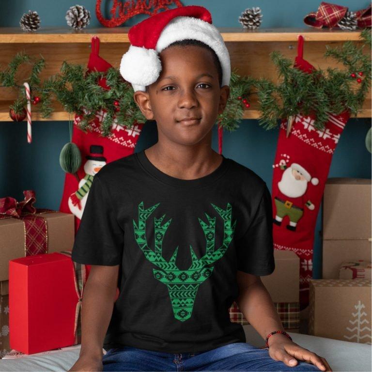 Short sleeve black Christmas t shirts Green happy deer