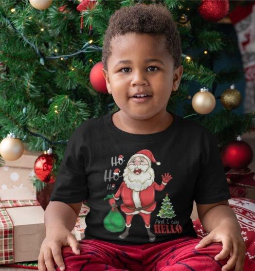 Short sleeve black Christmas t shirts Ho Ho Ho
