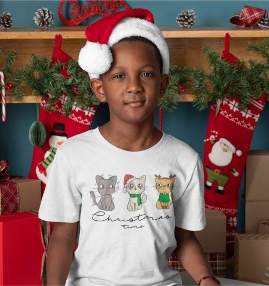 Short sleeve white Christmas t shirts Kitties Christmas time