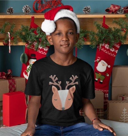 Short sleeve black Christmas t shirts Little deer boy